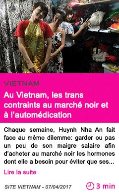 Societe au vietnam les trans contraints au marche noir et a l automedication