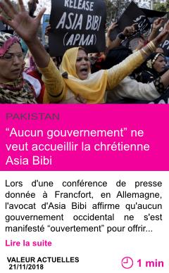 Societe aucun gouvernement ne veut accueillir la chretienne asia bibi page001