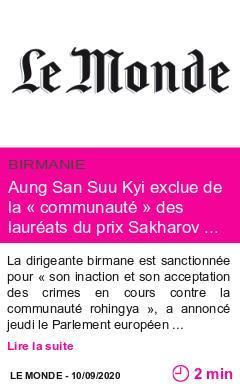 Societe aung san suu kyi exclue de la communaute des laureats du prix sakharov des droits de l homme page001