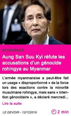 Societe aung san suu kyi refute les accusations d un genocide rohingya au myanmar