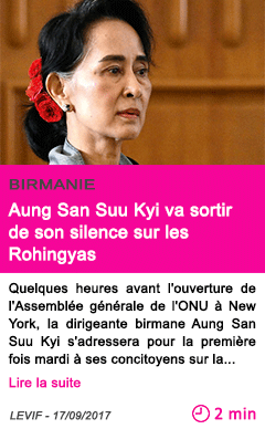 Societe aung san suu kyi va sortir de son silence sur les rohingyas