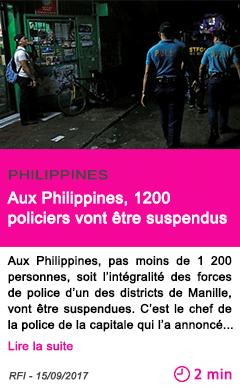 Societe aux philippines 1200 policiers vont etre suspendus
