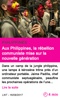 Societe aux philippines la rebellion communiste mise sur la nouvelle generation