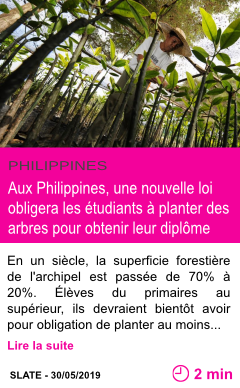 Societe aux philippines une nouvelle loi obligera les etudiants a planter des arbres pour obtenir leur diplome page001
