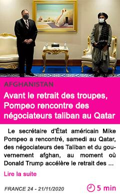 Societe avant le retrait des troupes pompeo rencontre des ne gociateurs taliban au qatar