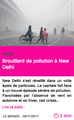 Societe brouillard de pollution a new delhi