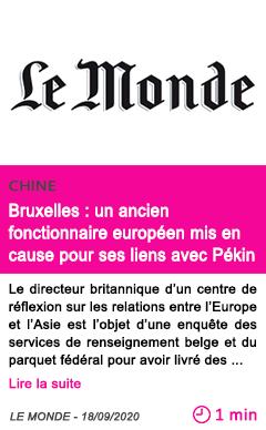 Societe bruxelles un ancien fonctionnaire europe en mis en cause pour ses liens avec pe kin
