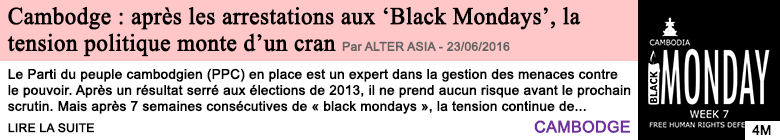 Societe cambodge apres les arrestations aux black mondays la tension politique monte d un cran
