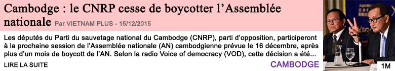 Societe cambodge le cnrp cesse de boycotter l assemblee nationale