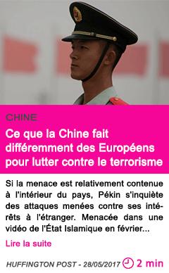 Societe ce que la chine fait differemment des europeens pour lutter contre le terrorisme