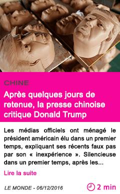 Societe chine apres quelques jours de retenue la presse chinoise critique donald trump