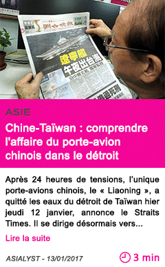 Societe chine taiwan comprendre l affaire du porte avion chinois dans le detroit