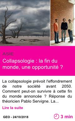 Societe collapsologie la fin du monde une opportunite