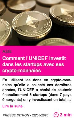 Societe comment l unicef investit dans les startups avec ses crypto monnaies