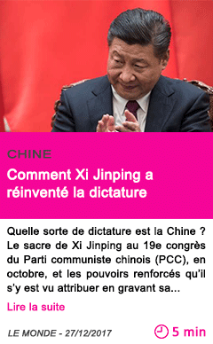 Societe comment xi jinping a reinvente la dictature