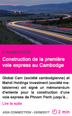 Societe construction de la premiere voie express au cambodge