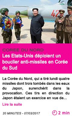 Societe coree du nord les etats unis deploient un bouclier anti missiles en coree du sud