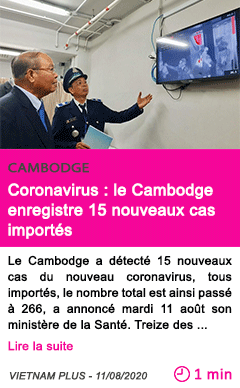 Societe coronavirus le cambodge enregistre 15 nouveaux cas importes