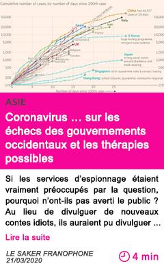 Societe coronavirus sur les echecs des gouvernements occidentaux et les therapies possibles