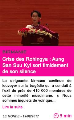 Societe crise des rohingya aung san suu kyi sort timidement de son silence