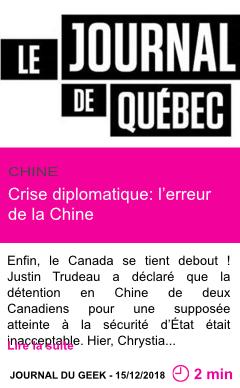 Societe crise diplomatique l erreur de la chine page001