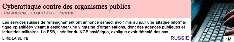 Societe cyberattaque contre des organismes publics