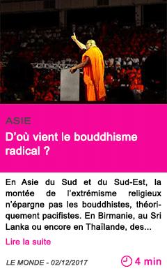 Societe d ou vient le bouddhisme radical
