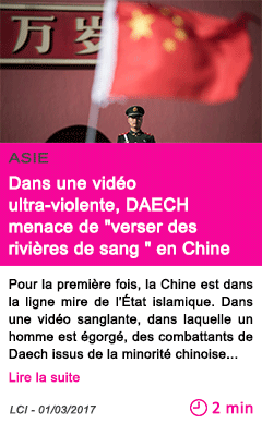 Societe dans une video ultra violente daech menace de verser des rivieres de sang en chine