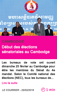 Societe debut des elections senatoriales au cambodge
