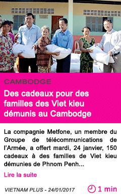 Societe des cadeaux pour des familles des viet kieu demunis au cambodge