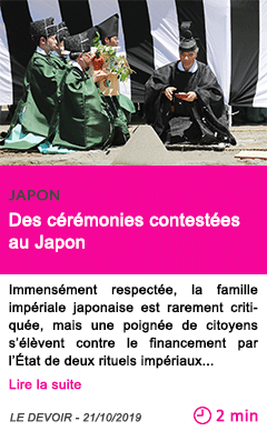 Societe des ceremonies contestees au japon