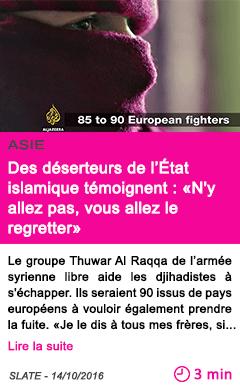 Societe des deserteurs de l etat islamique temoignent n y allez pas vous allez le regretter