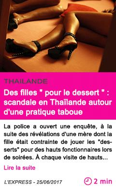 Societe des filles pour le dessert scandale en thailande autour d une pratique taboue