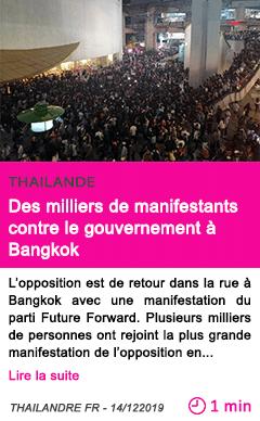 Societe des milliers de manifestants contre le gouvernement a bangkok