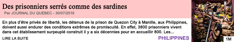 Societe des prisonniers serres comme des sardines