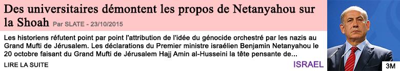 Societe des universitaires demontent les propos de netanyahou sur la shoah