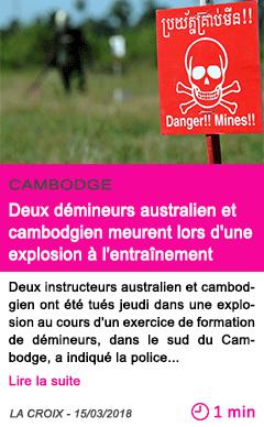 Societe deux demineurs australien et cambodgien meurent lors d une explosion a l entrainement