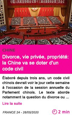 Societe divorce vie privee propriete la chine va se doter d un code civil