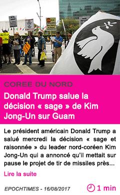 Societe donald trump salue la decision sage de kim jong un sur guam