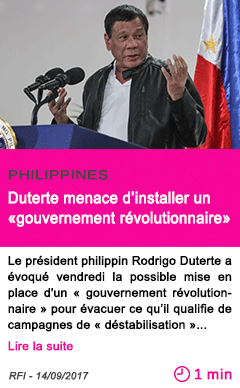 Societe duterte menace d installer un gouvernement revolutionnaire
