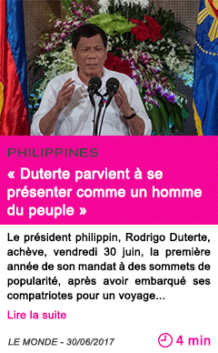 Societe duterte parvient a se presenter comme un homme du peuple