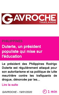 Societe duterte un president populiste qui mise sur l education 1