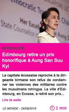 Societe edimbourg retire un prix honorifique a aung san suu kyi