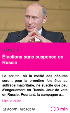Societe elections sans suspense en russie