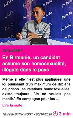 Societe en birmanie un candidat assume son homosexualite ille gale dans le pays