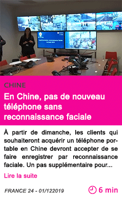 Societe en chine pas de nouveau telephone sans reconnaissance faciale