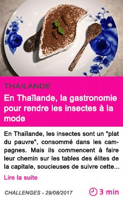 Societe en thailande la gastronomie pour rendre les insectes a la mode