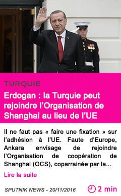 Societe erdogan la turquie peut rejoindre l organisation de shanghai au lieu de l ue