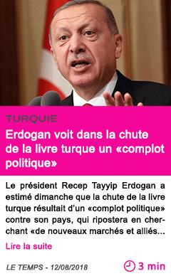 Societe erdogan voit dans la chute de la livre turque un complot politique