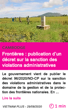 Societe frontieres publication d un decret sur la sanction des violations administratives